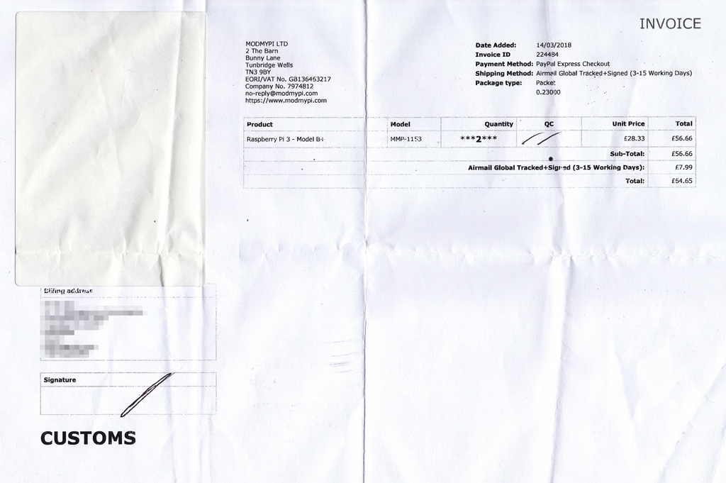raspi3modelb+invoice